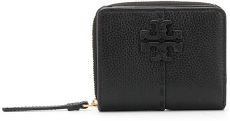 Tory Burch Logo Plaque Zipped Leather Purse