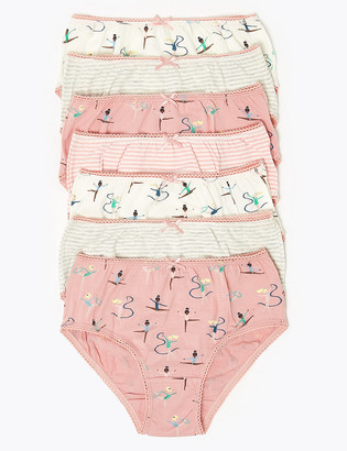 Marks and Spencer 7 Pack Cotton Ballet Knickers (2-16 Yrs)