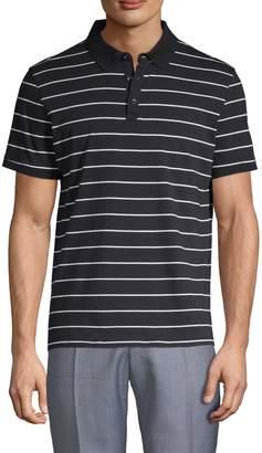 Pure Navy Striped Cotton Polo