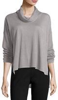 Eileen Fisher Cowl-Neck Box Top, Dark Pearl, Plus Size