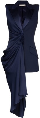 Alexander McQueen Asymmetric Draped Sleeveless Blazer