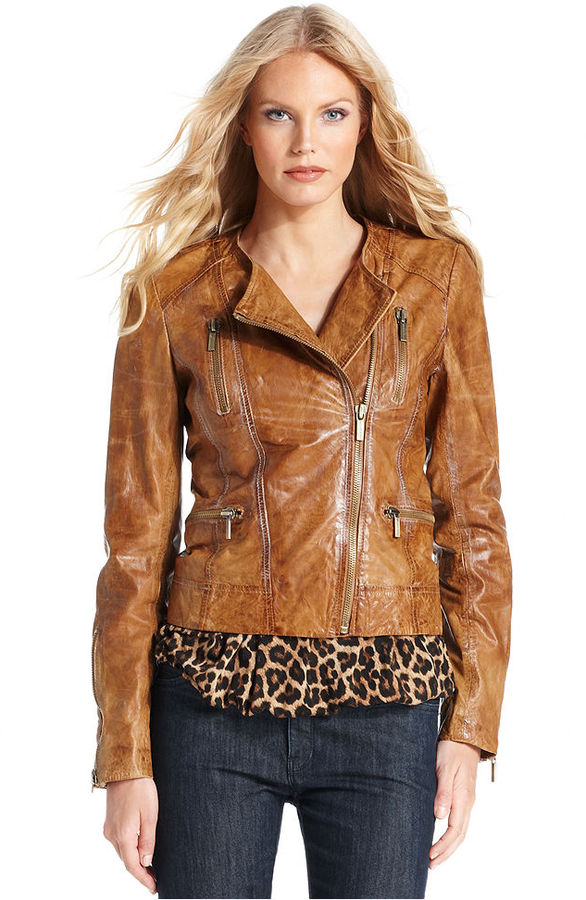 MICHAEL Michael Kors Jacket, Distressed Leather Moto