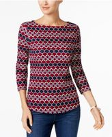 Charter Club Button-Shoulder Print Top, Created for Macy's