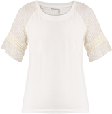 See by Chloe Embroidered-sleeve cotton-jersey T-shirt