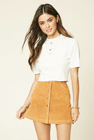 Forever 21 FOREVER 21+ Buttoned Leather Mini Skirt