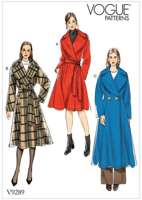 Vogue Women's Loose Fitting Lined Coat Sewing Pattern, 9289