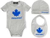 DSQUARED2 maple leaf print body set - kids - Cotton/Spandex/Elastane - 3 mth