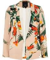 River Island Womens Petite light pink floral print blazer
