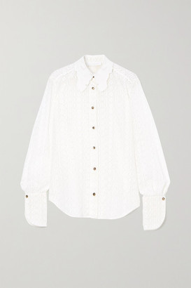 Chloé Embroidered Silk-lace Shirt - White