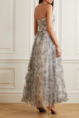 Monique Lhuillier Strapless Glittered Tulle Gown - White