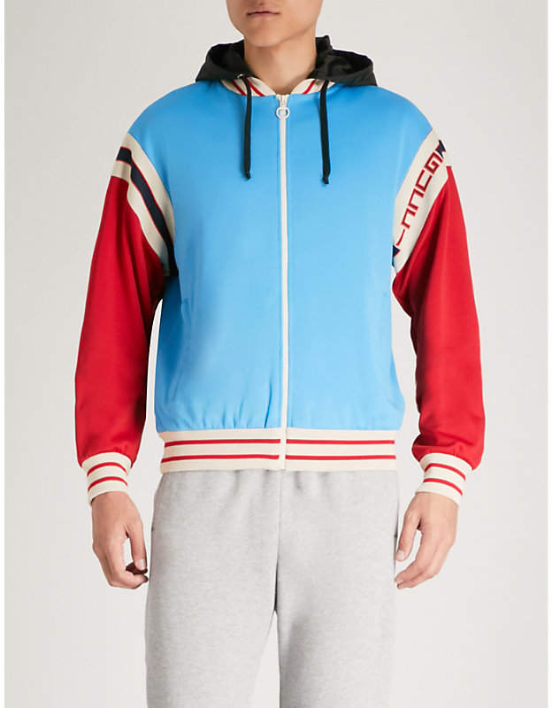 Gucci Contrast-panel cotton-blend bomber jacket