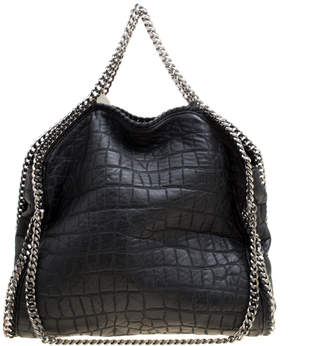 Stella McCartney Black Croc Embossed Faux Leather Small Falabella Tote