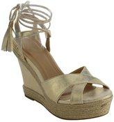 Beston ID87 Women's Criss Cross Strap Tassel Lace Up Espadrille Wedge Sandal, Color:, Size:6.5