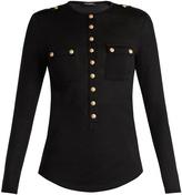 Balmain Button-detail wool-blend sweater