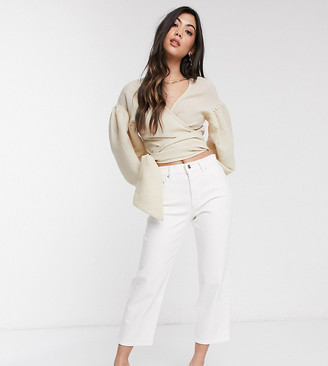 ASOS DESIGN Petite high rise 'Stretch' straight leg jeans in optic white