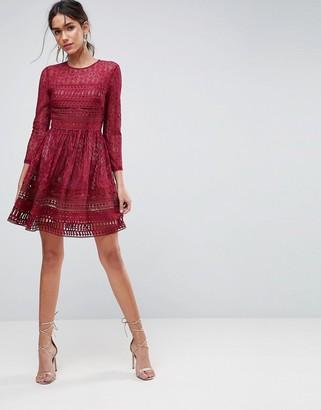 Asos Design ASOS PREMIUM Lace Mini Skater Dress