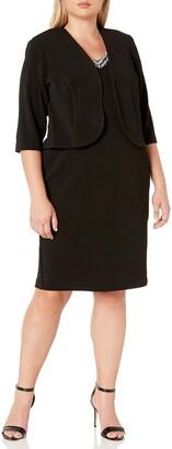 Maya Brooke Women's Plus Size Embellished V Neckline Jacket Dress
