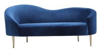 "McKenney Velvet Curved 68"" Recessed Arm Loveseat Mercer41 Upholstery Color: Blue"