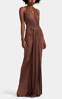 Rick Owens Women's Ruched Brushed Jersey Maxi Dress - Mauve