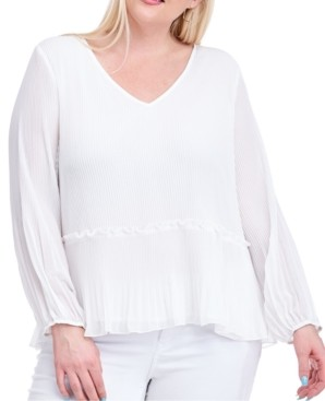 Fever Plus Size Pleated Blouse