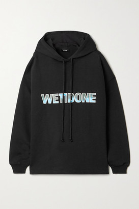 we11done Oversized Printed Appliqued Cotton-jersey Hoodie - Black