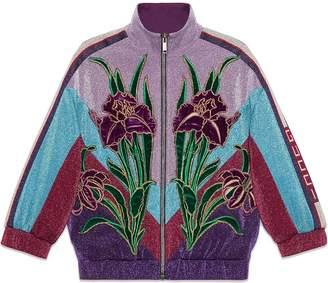 Gucci Kids velvet iris appliqué bomber jacket