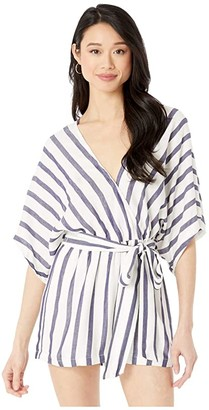 Maeve American Rose Kimono Sleeve Striped Romper (Ivory/Navy) Women's Jumpsuit & Rompers One Piece