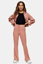Topshop Womens Petite Rust Lace Up Flare Trousers - Rusty