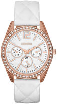 JCPenney FASHION WATCHES Womens Crystal-Accent Quilted Strap Boyfriend Watch