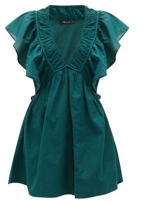 Mes Demoiselles Calixte Ruffled Cotton-poplin Mini Dress - Green
