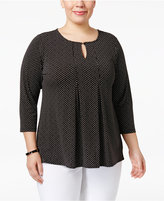 Charter Club Plus Size Dotted Pleated Top, Only at Macy's
