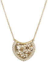 Lucky Brand Gold-Tone Flower and Lace Pendant Necklace