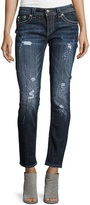 Miss Me Skinny Mid-Rise Jeweled Jeans, Dark Blue