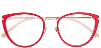 POMELLATO EYEWEAR PM0083O 003 RED GOLD TRANSPARENT Leather/Fur/Exotic Skins->Leather