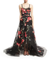 Marchesa Floral-Embellished High-Low Tulle Gown, Black