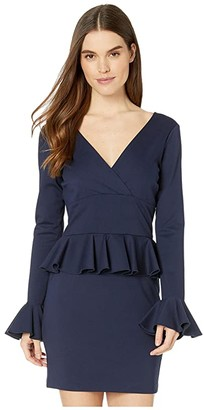 Nicole Miller Ponte Peplum Dress (Navy) Women's Dress
