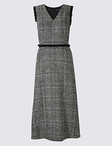 M&S Collection Checked Frayed Edge Midi Dress