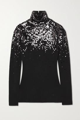 Valentino Sequin-embellished Wool Turtleneck Sweater - Black