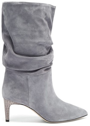 Paris Texas Slouchy Python-effect Leather Ankle Boots - Grey