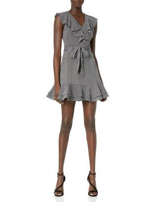 J.o.a. Women's Striped V Neck Double Layer Dress