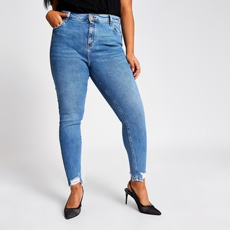 River Island Plus blue Amelie mid rise skinny jeans