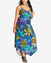 City Chic Trendy Plus Size Asymmetrical-Hem Maxi Dress