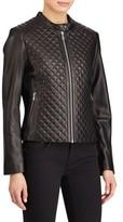 Lauren Ralph Lauren Women's Quilted Detail Lambskin Leather Jacket