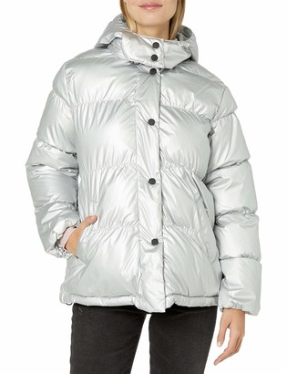 Urban Republic Women's Juniors Patent Leather Puffer Jacket
