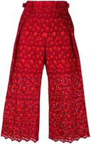 Sacai guipure lace cropped trousers - women - Cotton/Polyester/Cupro/Rayon - 2