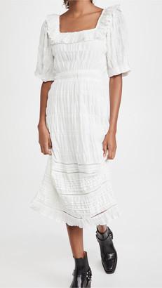 En Saison Prairie Ruffle & Pintuck Detailed Midi Dress