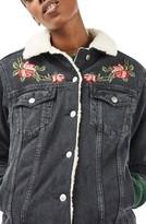 Topshop Women's Embroidered Borg Denim Jacket