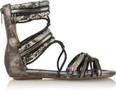 Schutz Metallic lizard-effect and snake-effect leather sandals