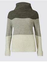 Classic Wool Blend Colour Block Roll Neck Jumper