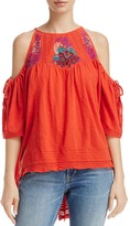 Free People Fast Times Embroidered Cold Shoulder Top